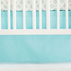 Solid Aqua Crib Skirt | Aztec Baby in Aqua Crib Collection