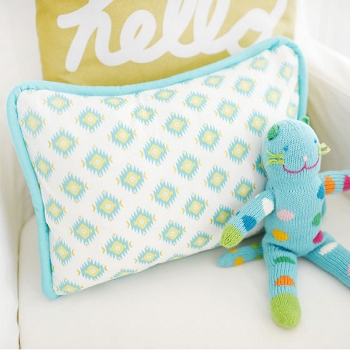 Aqua and Gold Tribal Pillow | Aztec Baby in Aqua Crib Collection