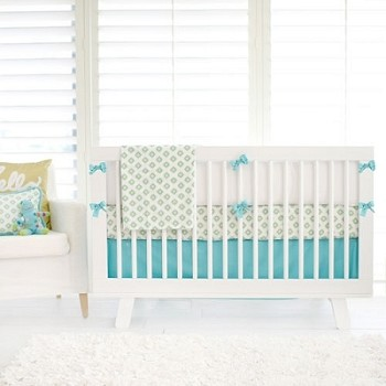 Aqua & Gold Tribal Baby Bedding | Aztec Baby in Aqua Crib Collection