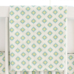 Aqua & Gold Tribal Crib Blanket | Aztec Baby in Aqua Crib Collection