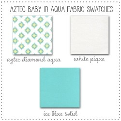 Aztec Baby in Aqua Crib Bedding Collection Fabric Swatches Only