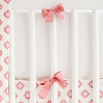 Coral & White Crib Bumper | Aztec Baby in Coral Crib Collection