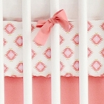 Gold and Coral Aztec Crib Sheet | Aztec Baby in Coral Crib Collection