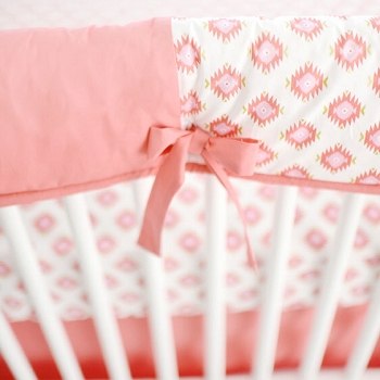 Aztec Coral Crib Rail Guard Only | Aztec Baby in Coral Crib Collection
