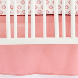 Solid Coral Crib Skirt | Aztec Baby in Coral Crib Collection