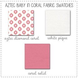 Aztec Baby in Coral Crib Bedding Collection Fabric Swatches Only