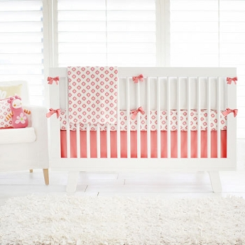 Coral & Gold Tribal Baby Bedding | Aztec Baby in Coral Crib Collection