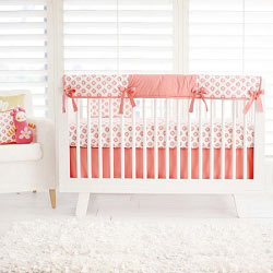 Coral and Gold Nursery Rail Guard Set  |  Aztec Baby in Coral Collection
