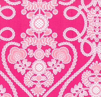 Bright Pink Floral Fabric | Berry Bouquet
