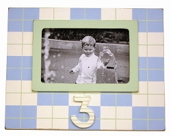 3rd Birthday Frame Blue and Green