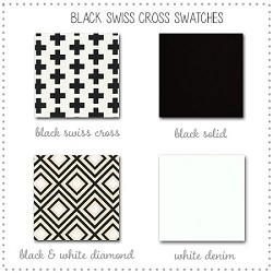 Black Swiss Cross Crib Bedding Collection Fabric Swatches Only
