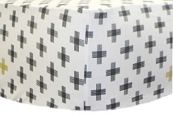 Gold and Black Swiss Cross Crib Sheet