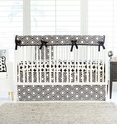 Black Swiss Cross Crib Rail Guard  |  Black Swiss Cross Crib Collection