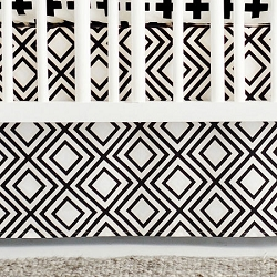 Black Diamond Crib Skirt | Black Swiss Cross Collection