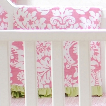 Green & Pink Damask Crib Blanket  |  Bloom in Pink Crib Collection
