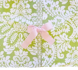 Green Damask Crib Skirt  |  Bloom in Apple Crib Collection