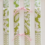 Green Damask Crib Bumper  |  Bloom in Apple Crib Collection