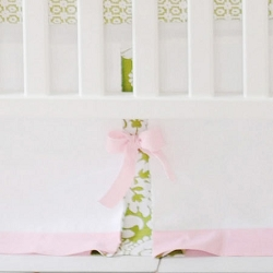 Pink & Green Crib Skirt  |  Bloom in Apple Crib Collection