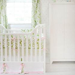 Green Damask Baby Bedding  |  Bloom in Apple Crib Collection