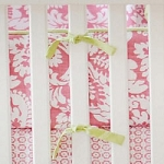 Green & Pink Damask Crib Bumper  |  Bloom in Pink Crib Collection