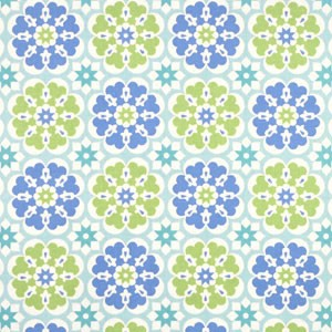Blue & Green Floral Fabric | Blossom in Blue