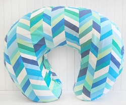 Blue Herringbone Nursing Pillow Cover  |  Uptown in Blue Crib Collection