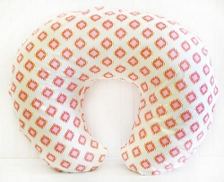 Coral & Gold Tribal Nursing Pillow Cover | Aztec Baby in Coral Crib Collection