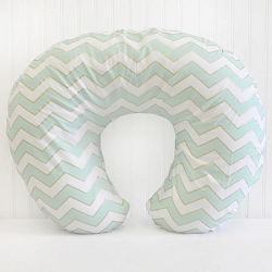 Gold and Mint Chevron Nursing Pillow Covers