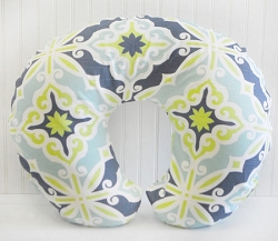 Lime Green & Navy Nursing Pillow Cover  |  Starburst in Kiwi Crib Collection