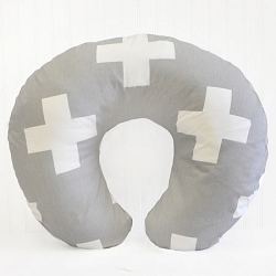Gray Nursing Pillow Covers |  Gray Swiss Cross Crib Collection