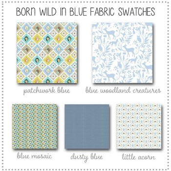 Born Wild in Blue Crib Bedding Collection Fabric Swatches Only