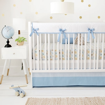 Blue Boy Woodland Crib Rail Cover Set | Born Wild in Blue Collection