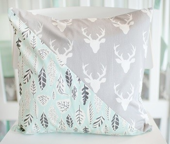 Mint and Gray Deer Pillow | Buck Forest in Mist Crib Collection