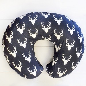 Navy Deer Nursing Pillow Slipcover | Buck Forest in Twilight Deer Baby Bedding Collection
