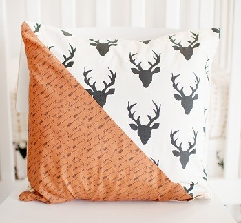 Black Deer Pillow | Buck Forest in Night Crib Collection