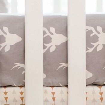 Grey Deer Crib Sheet | Buck Forest in Mist Crib Collection