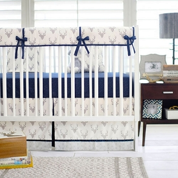 Boy Deer Crib Rail Cover Set | Buck Forest in Silver Collection