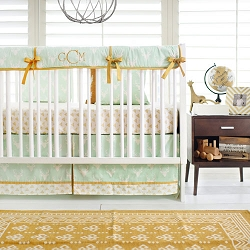Gold and Mint Woodland Deer Nursery Set | Buck Forest in Mint Collection
