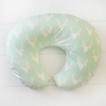 Mint Deer Nursing Pillow Slipcover | Buck Forest in Mist Collection