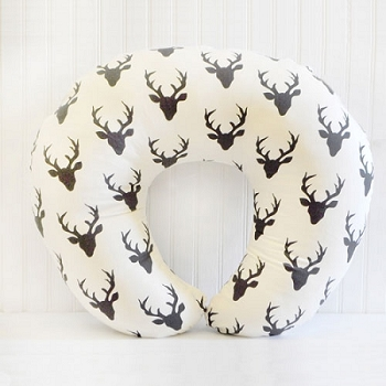 Black Deer Nursing Pillow Cover| Buck Forest in Night Crib Collection