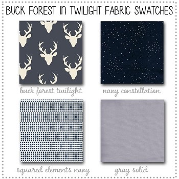 Buck Forest inTwilight Crib Collection Fabric Swatches Only