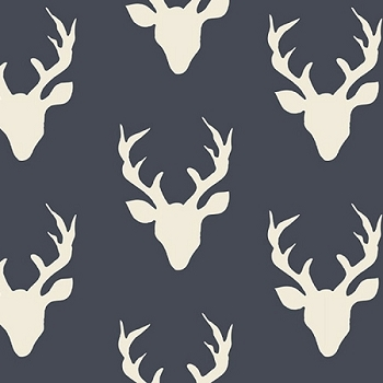 Navy Deer Head Fabric | Art Gallery Buck Forest Twilight Fabric