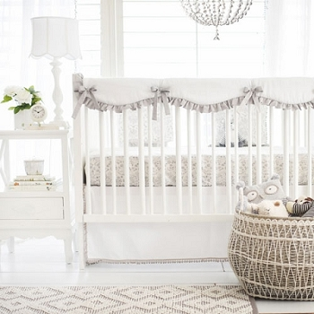 Gray Crib Rail Guard Set | Bunny Love Bumperless Crib Collection