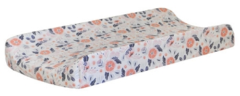 Navy and Coral Floral Changing Pad Cover | Camping Floral Crib Collection