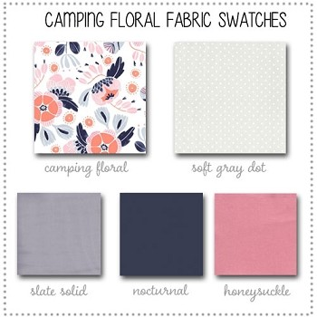 Camping Floral Crib Collection Fabric Swatches Only