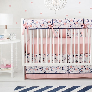 Girl Coral and Navy Crib Rail Guard Set | Camping Floral Collection