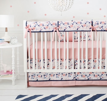 Girl Coral and Navy Crib Rail Cover Set | Camping Floral Collection