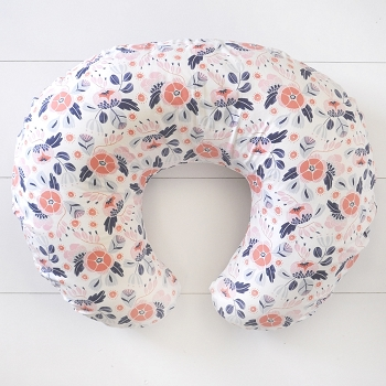 Coral and Navy Floral Nursing Pillow Slipcover | Camping Floral Crib Collection