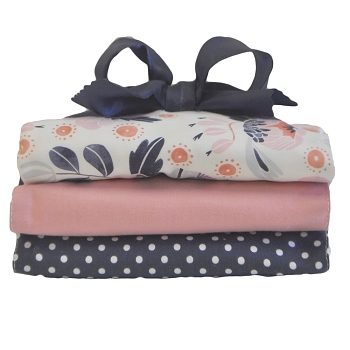 Navy and Pink Floral Burp Cloth Set | Camping Floral Crib Collection