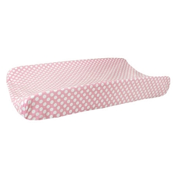 Candy Polka Dot Changing Pad Cover | Zig Zag Baby in Pink Sugar Crib Collection
